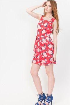 Robe asymétrique fleurie en mousseline rouge