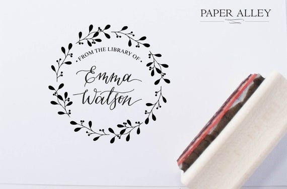 Customized From The Library Of Stamp Ex Libris Book Plate Wreath Circle Calligraphy Gift Stationery