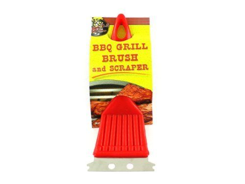 """BBQ Grill brush and scaper - Pack of 48 by Bulk Buys. $54.43. Length: 12. Dimensions:. Great Gift Idea.. Height: 12. Width: 12. You should always give the grill a good scrub after use and before the next use. Use the brush to clean off the grill grates and the scraper to clear off sticky or stubborn food items. Measures 2"""" x 7 1/2"""". Dimensions:. Length: 12. Height: 12. Width: 12"""