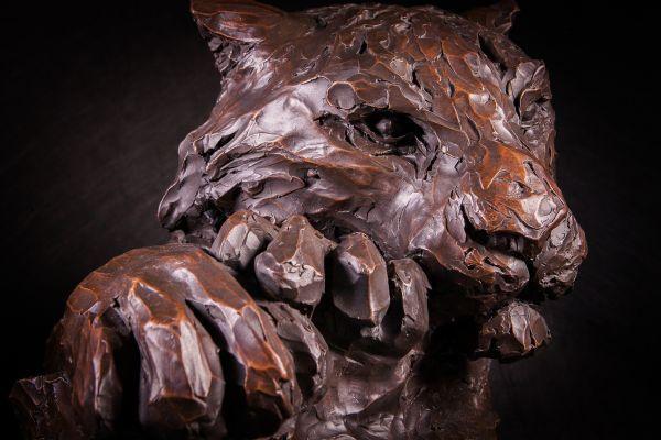 #Bronze #sculpture by #sculptor Matt Withington titled: 'Killing Time (Bronze Resting Tiger Head Bust statue sculpture for sale)'. #MattWithington