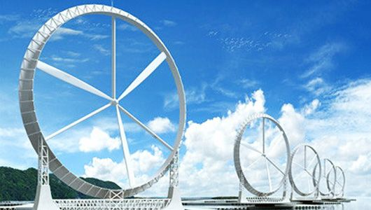 "Japanese researchers have created a technology called ""Wind Lens"" that could double-to-triple the potential output of a wind turbine  (snapshot from YouTube video) via mnn.com"
