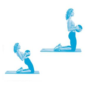 The Matrix: Grab a 5-10 pound medicine ball (or dumbbell) & kneel on the floor with your knees hip-width apart. Keep your torso upright & hold the ball against your abs. Slowly lean back as far as possible, keeping your knees planted. Hold the reclined position for 3 seconds, the use your core to slowly come up to the starting position. Do 12-15 reps.