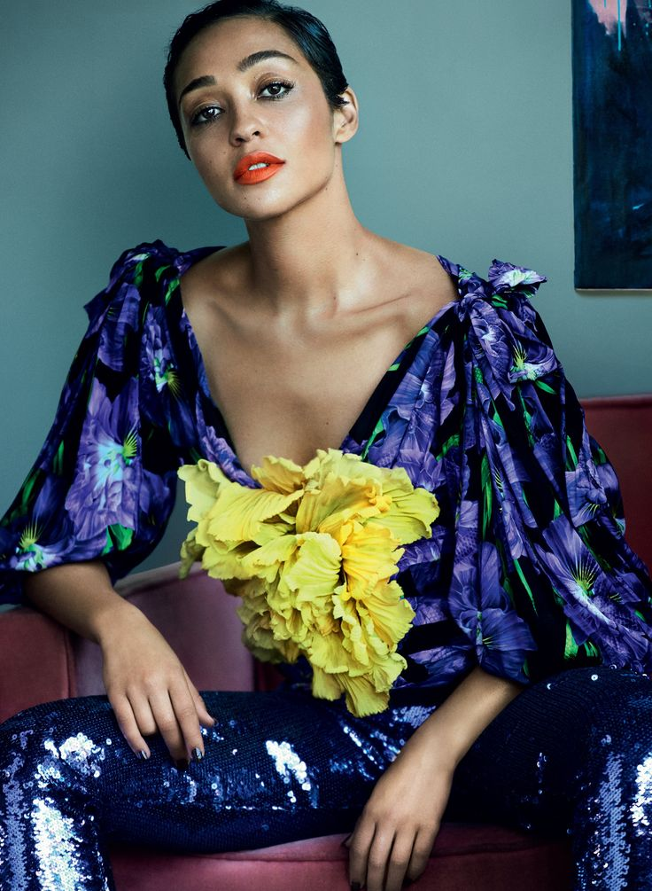 Ruth Negga. Vogue January 2017. Face to Face As Mildred Loving, Negga captures the quiet strength of a woman determined to have her interracial marriage be recognized in 1958 Virginia. The landmark case Loving v. Virginia changed American law. Gucci top and sequined leggings. Photographed by Mario Testino, Vogue, January 2017