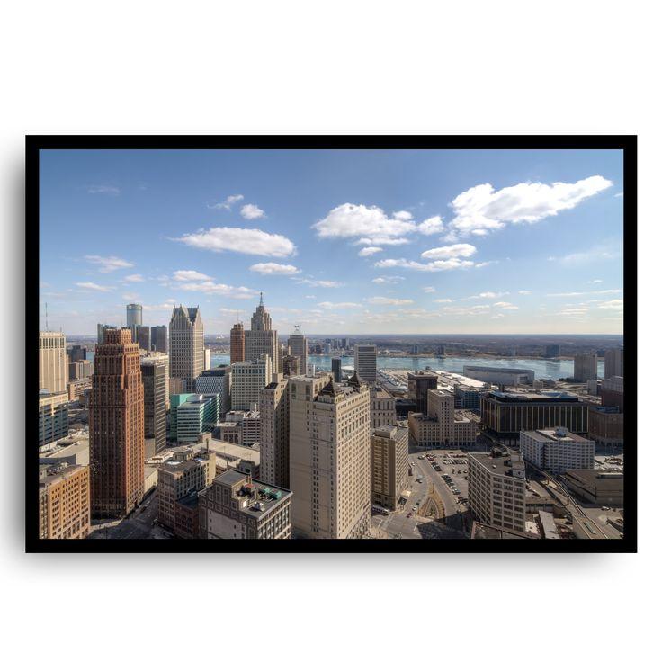Detroit Book Tower Framed. Image taken of downtown Detroit from the Book Tower. 12x18 framed. Original art. Handmade reclaimed wood frame.