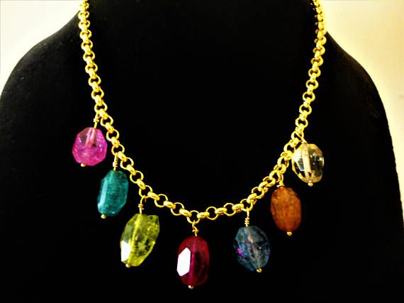 18K Gold plated Rainbow Crystal Necklace. Statement Necklace.