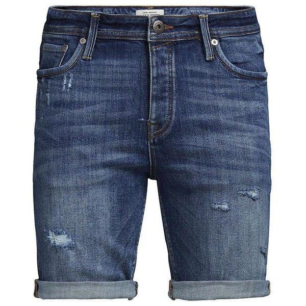 Jack & Jones Men's Felix Denim Shorts ($40) ❤ liked on Polyvore featuring men's fashion, men's clothing, men's shorts, blue denim, mens ripped jean shorts, mens slim shorts, mens denim shorts, mens jean shorts and mens shorts