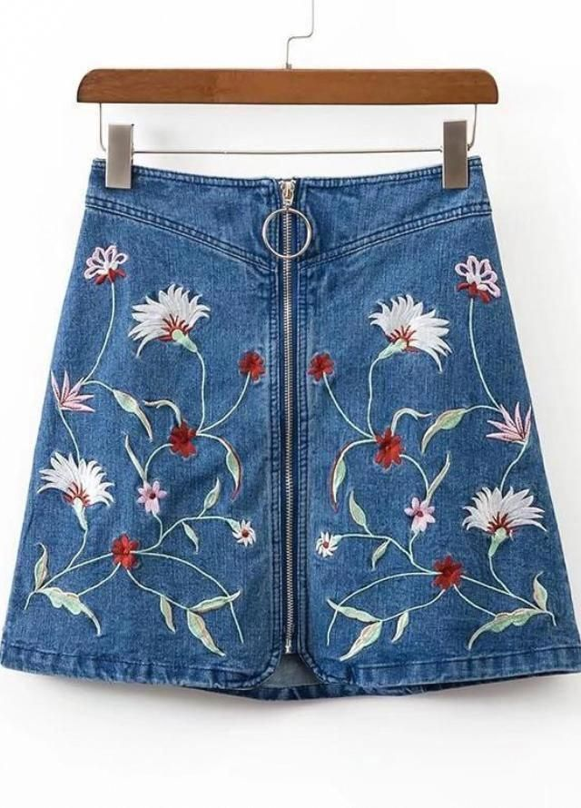 Pattern Type  Embroidery Silhouette  A Line Length  Above Knee Short  Material  Denim Style  Cute 02b9f910765c
