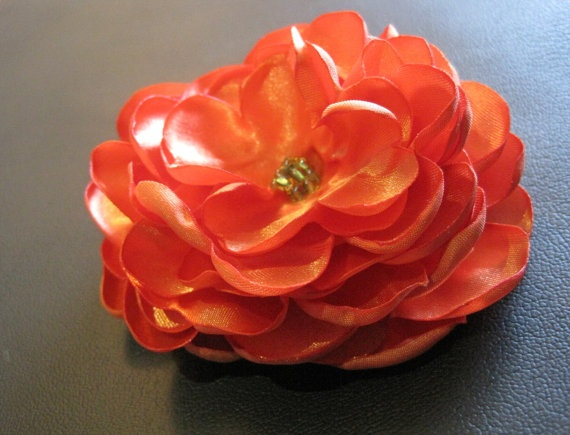 Orange Satin Flower Hair Clip by TheJadeFrog on Etsy, $8.00
