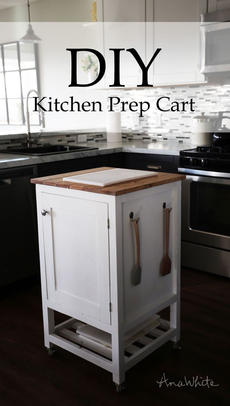 DIY Kitchen Island Prep Cart Project Tutorial. Build your own kitchen