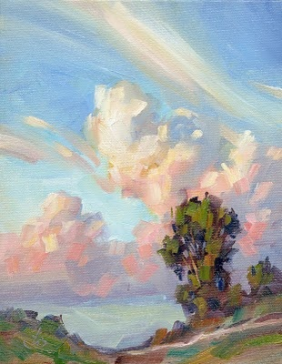 """""""A Whole Lot of Weather"""" painting by Tom Brown. Clouds are fantastic!"""