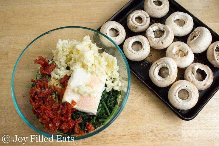 Tuscan Stuffed Mushrooms - Low Carb, Grain Gluten Free, THM S, Keto