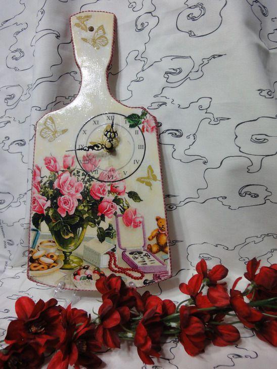 Декупаж: кухонные часы (декупаж, салфетки, кракелюр) » ProstoDelkino.com - поделки своими руками.