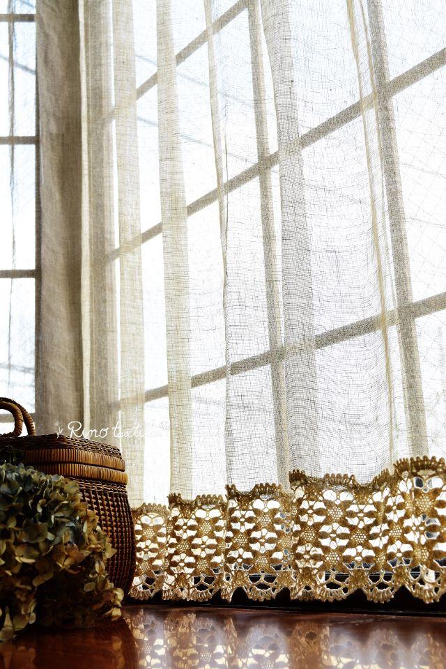 フランスリネンレース(フランス産)&ボビンレース付 1つ山 リネンレーカーテン 薄地 リノパリス グレー サイズ 幅100㎝×丈130㎝ ¥24,500(税込)