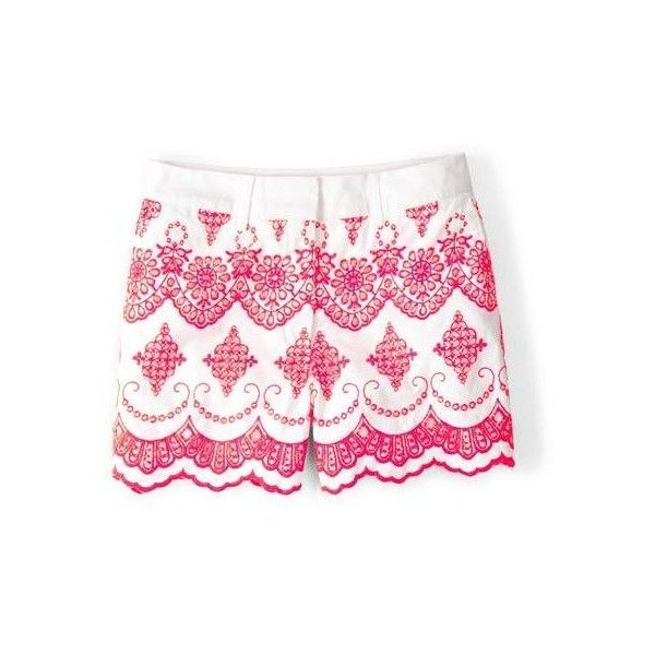 Boden Pretty Embroidered Shorts ($39) ❤ liked on Polyvore featuring shorts, neon grapefruit, short shorts, boden, cotton shorts, neon shorts and embroidered shorts