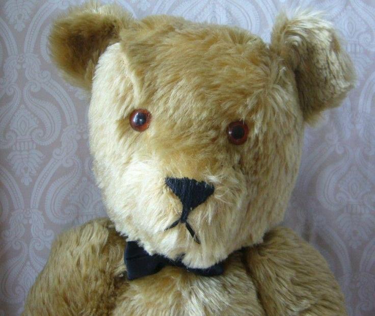 Large Vintage Huggable Golden Brown Mohair Teddy Bear