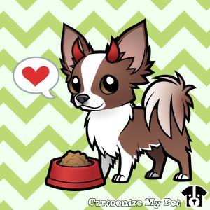 Chocolate Parti L'il Devil Chihuahua cartoon designed on CartoonizeMyPet.com