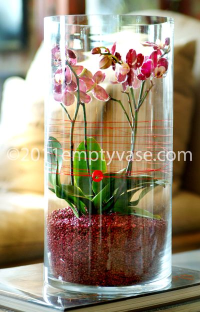 3 Baby Phaleanopsis plantswith red decorative wire and red sand in a  cylinder glass vase.