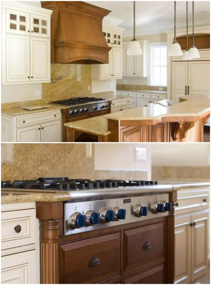 Painted Cabinets With Stained Hood And Range Paneling Stained Kitchen Cabinets Cabinets And Countertops Custom Cabinetry
