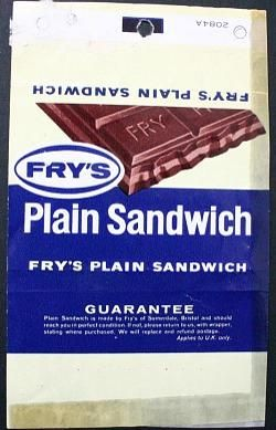 Fry's Plain Sandwich wrapper - 60s/70s chocolate bar