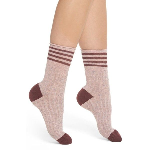Women's Lemon Metallic Tweed Rugby Stripe Crew Socks (€11) ❤ liked on Polyvore featuring intimates, hosiery, socks, berry, metallic socks, crew length socks, crew socks, lemon socks and ribbed socks