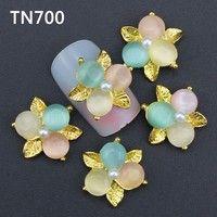 Wish | Blueness 10pcs 3D Colorful Flower Design Jewelry Nail Tools Glitter Rhinestones Alloy Nail Art  Decorations New Arrive  TN700