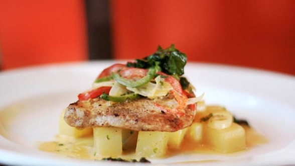 Tuna Salsa Verde  Grilled Tuna Steak with creamed potatoes, vegetables and parsley capers sauce.