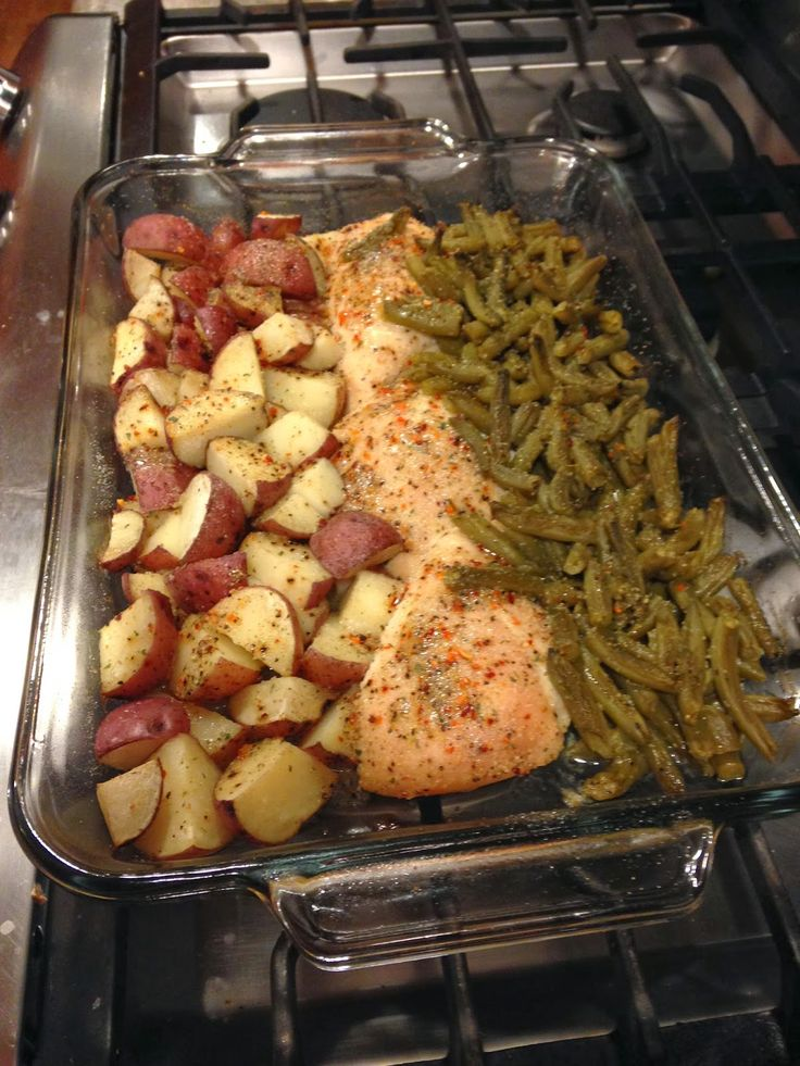 Italian Chicken Potato and Green Bean Bake. I'll replace the green beans with something, and some of that butter with olive oil...but interesting idea, eh? 1 row cut potatoes, next to 1 row of chicken breasts, next to 1 row of vegetable. recipe calls for 3/4 stick butter & 2 italian dressing seasoning packets. Cover with foil. Bake in an hour on 350.