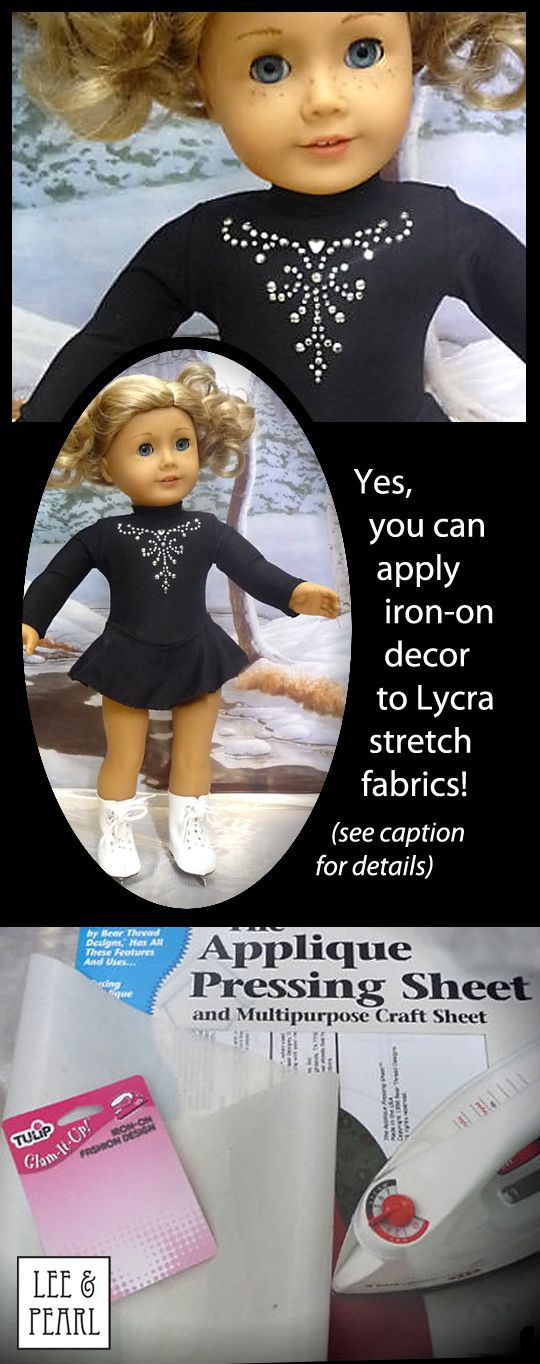 "Sewbig sent us these photos of the Tulip Glam-It-Up iron-on she applied to the skating dress she made from Lee & Pearl Pattern 1055: Skating Dresses for 18"" Dolls. Sewbig used the directions found on this site: http://suessparklers.com/blog/how-to-apply-iron-on-designs, and pressed the fabric and stud design between silicon pressing sheets for 4 minutes total, with the iron set to ""wool."" Pattern #1055 is available in the Lee & Pearl Etsy store at https://www.etsy.com/shop/leeandpearl"