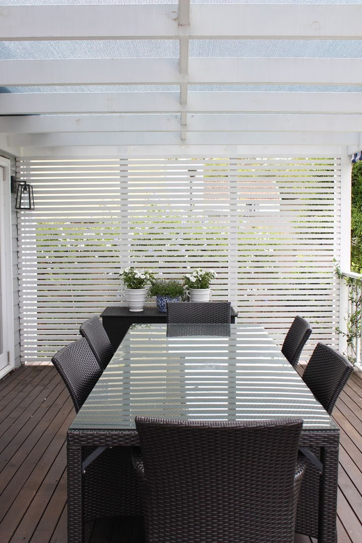 Horizontal slat privacy screen wall on deck porch for Hanging privacy screens for decks