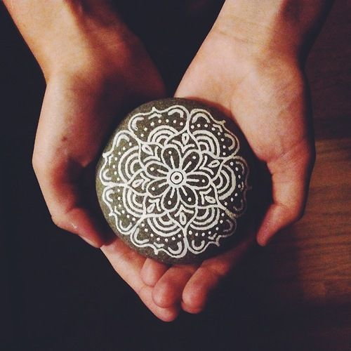 painted mandala rock