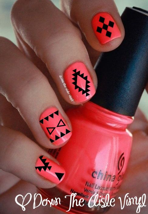 $5.00 Aztec Nail Decals  Set of 50 by CoverItInVinyl on Etsy www.coveritinvinyl.com Follow us on Instagram: @coveritinvinyl