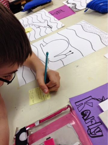 During the creative progression of each of our projects, students in 7th and 8th grade art are asked to review and respond to each other's w...