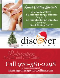 Black Friday Massage deals and online gift certificates