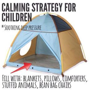 One effective technique in helping children to calm down and self-regulate is to take a play tent and stuff it with blankets, pillows/ body pillows, soft large stuffed animals, comforters, bean bag chairs, etc. and allow your child to snuggle in there. The closed-in compressed deep pressure feeling can provide quick relief from anxiety and stress. #sensorytheraplaybox #subscriptionbox #sensorybreak #autism #sensoryprocessing
