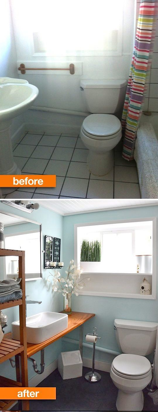 tiny bath makeovers | Love the sink layout. If we have a tiny bathroom again, that might be a better way to go.