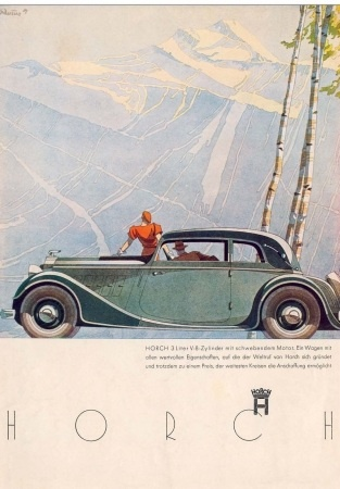 Horch advert - Car in mountains