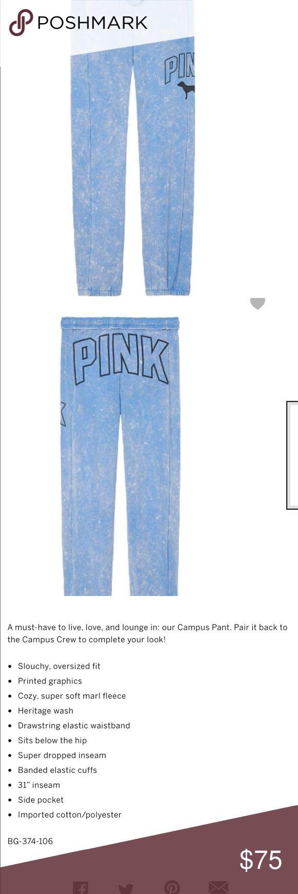 NIP VS PINK CAMPUS SUPER SOFT PANT SZ SM BLUE NIP VS PINK CAMPUS SUPER SOFT PANT SZ SM BLUE WITH BLACK  GRAPHICS PINK Victoria's Secret Pants Track Pants & Joggers