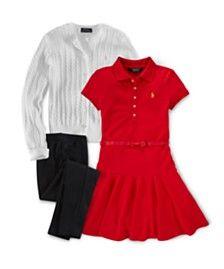 Ralph Lauren Little Girls' Cute Classics Cardigan, Shirtdress & Leggings