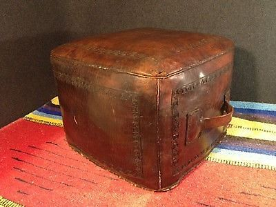 vintage leather footstool vintage tooled leather mid century pouf hassock 3235