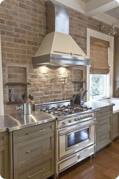 1.Stainless steel hood (more industrial?)   2.Brick on range wall   3.Uppers - cabinetry or open shelving?   4.Cabinetry - painted or stained?