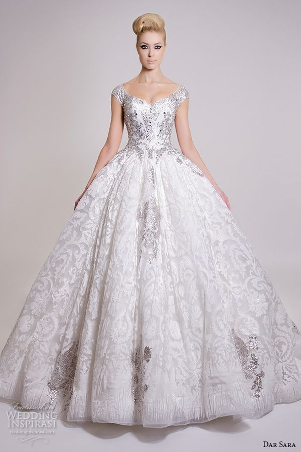 dar sara bridal 2016 wedding dresses pretty ball gown scoop neckline beaded embellishment bodice