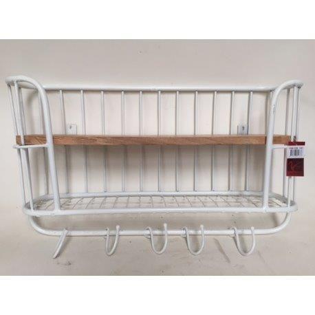 Wandrek wit metaal met n houten plank en raster voorzien van 6 haken stoer en industrieel - Houten keuken en metaal ...