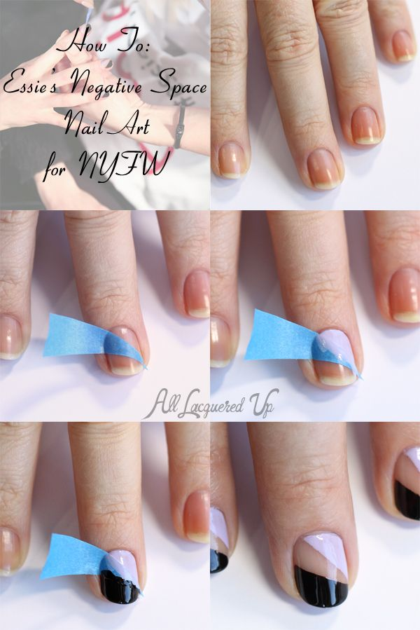 #NailArt Tutorial - Negative Space Manicure #Essie at NYFW #nails via @All Lacquered Up