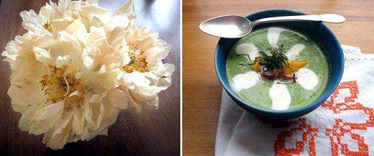 Seasonal Recipe:   Chilled Pea Soup with Radish and Mango Relish