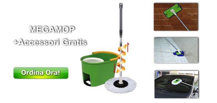 Il sistema di pulizia per pavimenti Megamop è la scelta perfetta per chi cerca un modo facile e veloce per le pulizie di casa!   INCLUSI NEL SET:      SECCHIO+CENTRIFUGA     MANICO IN ALLUMINIO     SPAZZOLONE ROTANTE     ACCESSORIO 4 ALETTE MOBILI + 1 PANNO     TESTA PER SCALE ED ANGOLI + 2 PANNI     PANNO MICROFIBRA A FRANGE LUNGHE
