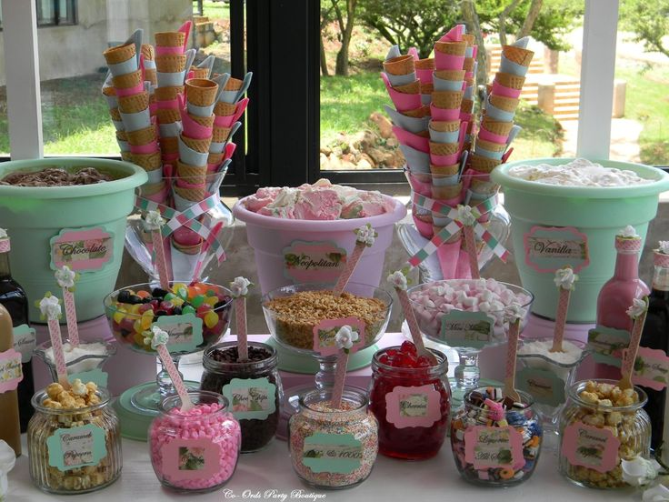 Ice-Cream buffet for a wedding using our Ice-Cream cart, by Co-Ords Party Boutique