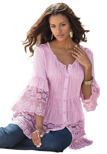 Roamans Women's Plus Size Illusion Lace Bigshirt Denim 24/7 (Mauve Mist,12 W) Roamans http://www.amazon.com/dp/B00IEBS16M/ref=cm_sw_r_pi_dp_.pV1tb03NBNP3P71