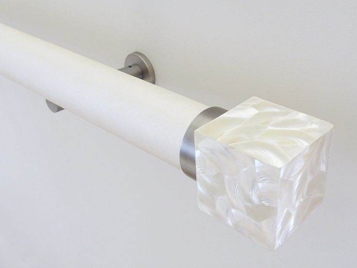 50mm Dia Wrapped And Tracked White Frost Curtain Pole Set With