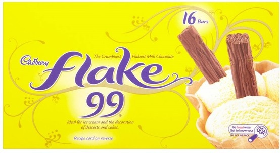 Cadburys flake 99's Only 2.5 Syns each. Find these in the supermarket ice-cream aisle!  OTHER Standard Flake 32g - 8.5 Multipack 26g - 7 Syns Treatsize 14g - 4