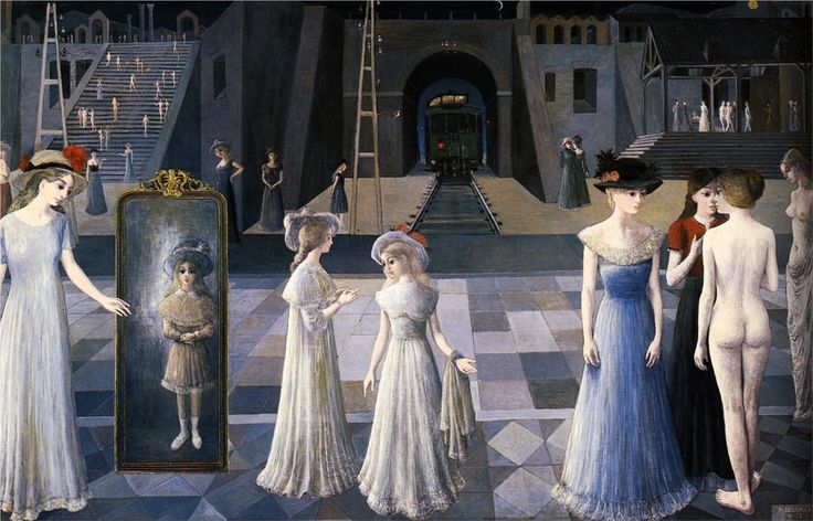 Paul Delvaux (Belgian 1897–1994)   [Surrealism] The Tunnel, 1978.